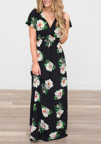 Black Flowers Print Draped V-neck Short Sleeve Bohemian Maxi Dress