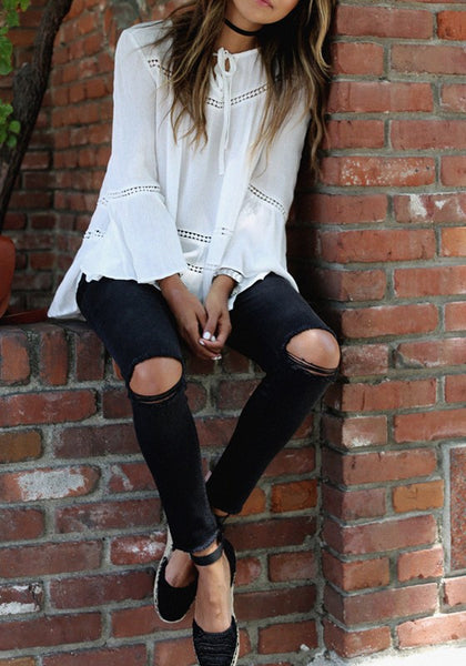 White Plain Hollow-out Lace Long Sleeve Casual T-Shirt