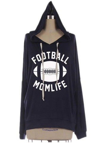 New Black Football Grapgic Print Hooded Long Sleeve Casual Oversized Pullover Sweatshirt