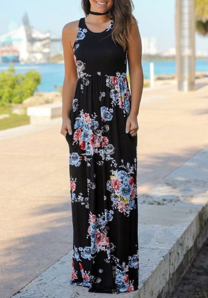Black Flowers Pockets Round Neck Bohemian Beach Maxi Dress