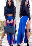 Blue Patchwork Thigh High Side Slits High Waisted Casual Long Pants