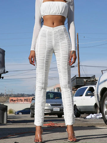 White Grenadine Pleated Bodycon High Waisted Party Long Pant