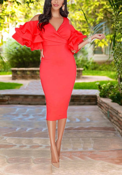 Red Cascading Ruffle Cut Out Sleeve High Waisted Bodycon Elegant Party Midi Dress