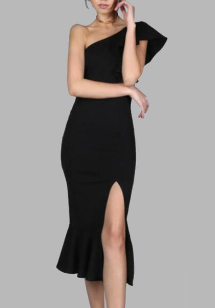 Black Ruffle Off-Shoulder Oblique Shoulder Side Slit Cocktail Party Maxi Dress