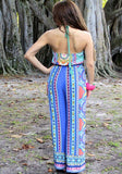 Multicolor Tribal Floral Print Halter Neck Backless Wide Leg Vintage Long Jumpsuit