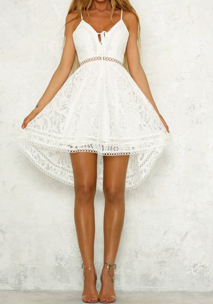 White Lace Spaghetti Strap Drawstring Lace-Up Deep V-neck Sweet Homecoming Party Midi Dress