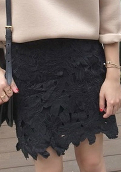Black Lace Irregular Zipper Above Knee High Waisted Skirt