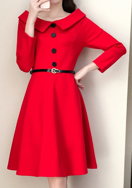 Red Single Breasted Pleated Turndown Collar Elegant Party Midi Dress