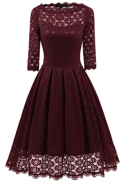 Wine Red Patchwork Lace Irregular Round Neck Elbow Sleeve Midi Dress