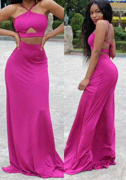 Rose Carmine Spaghetti Strap Buttons Two Piece Tie Back Backless Party Maxi Dress
