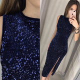 Navy Blue Sequin Glitter Side Slit Bodycon Banquet Elegant Party Maxi Dress