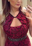 Plain Hollow-out Cut Out Crochet Lace Backless Floor Length Lace Prom Dress