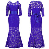 Sapphire Blue Flowers Lace Lace Cut Out Ribbons Party Maxi Dress