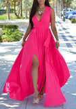 Rose Carmine Plain Belt V-neck Sleeveless Side Slit Floor Length Fashion Dress