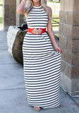 Black-White Striped Round Neck Sleeveless Casual Maxi Dress