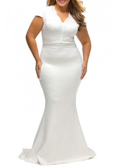 White Rhinestone V-neck Mermaid Plus Size Elegant Party Maxi Dress