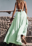 Green Cut Out Pleated Sashes Beach Backless Flowy Clubwear Cute Maxi Dress