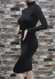 Black Long Sleeve Slim Bodycon Club Dresses