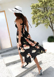 Black Flowers Print Irregular Spaghetti Strap Backless Flowy Bohemian Maxi Dress