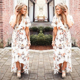 White Floral Irregular Belt Plunging Neckline Short Sleeve Maxi Dress
