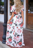 White Floral Pleated V-neck Short Sleeve Bohemian Sweet Maxi Dress