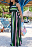 Green Striped Pockets Round Neck High Waisted Flowy Bohemian Casual Maxi Dress