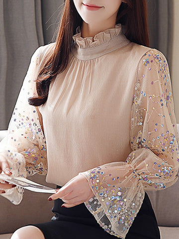 Apricot Patchwork Ruffle Sequin Band Collar Elegant Blouse