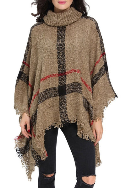 Camel Plaid Irregular Tassel High Neck Casual Pullover Sweater