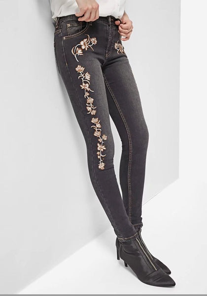 Dark Grey Flowers Embroidery Zipper High Waisted Long Jeans