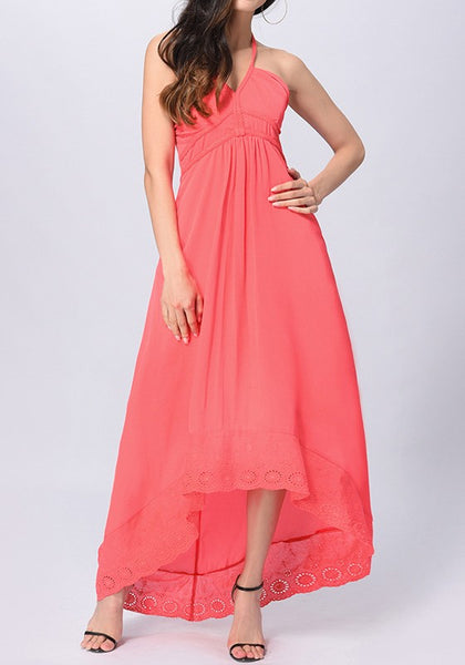 Watermelon Red Patchwork Lace Zipper Tie Back Halter Neck High-low Maxi Dress