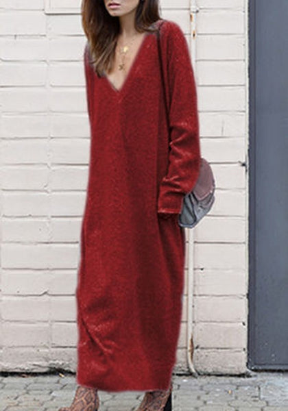 Burgundy Draped V-neck Long Sleeve Fashion Sweater Maxi Dress