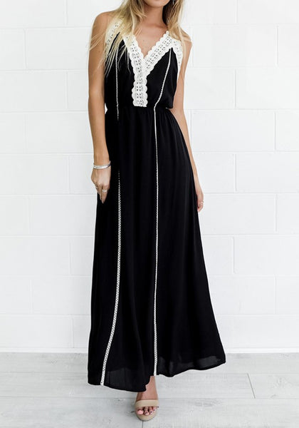 Black Patchwork Condole Belt Lace Cross Back Tie Back Maxi Dress