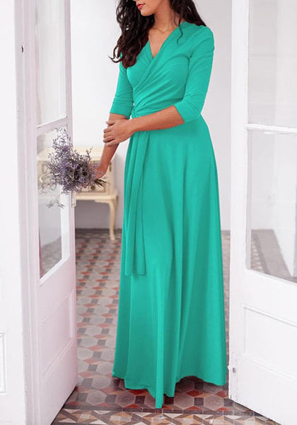 Turquoise Green Draped Sashes Multi Way Deep V-neck Wedding Banquet Prom Party Maxi Dress