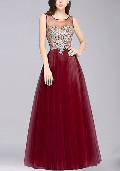Wine Red Patchwork Print Grenadine Zipper Appliques Round Neck Fashion Maxi Dress
