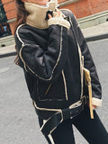 Black Patchwork Fur Pockets Belt Turndown Collar Long Sleeve Casual Coat