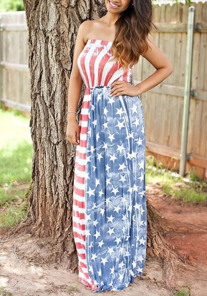 Red American Flag Pattern Bandeau Off Shoulder High Waisted Independence Day Maxi Dress