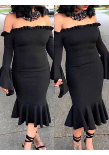 Black Ruffle Off Shoulder Backless Flare Sleeve Mermaid Bodycon Party Midi Dress