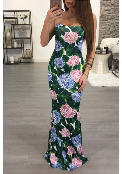 Green Floral Print Bandeau Backless Bodycon Mermaid Gowns Party Maxi Dress