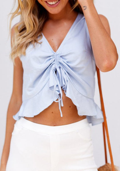 Light Blue Ruffle Drawstring Lace-up V-neck Sweet Going out Blouse