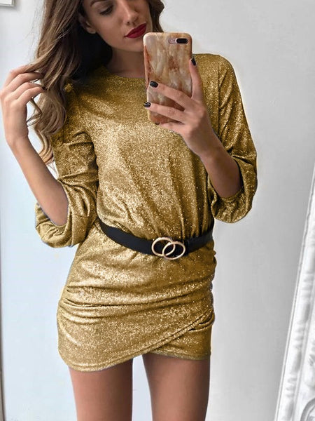 Golden Ruffle Tiered Round Neck Long Sleeve Fashion Mini Dress