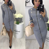 Grey Zipper Studded Cut Out Long Sleeve Fashion Midi Dress