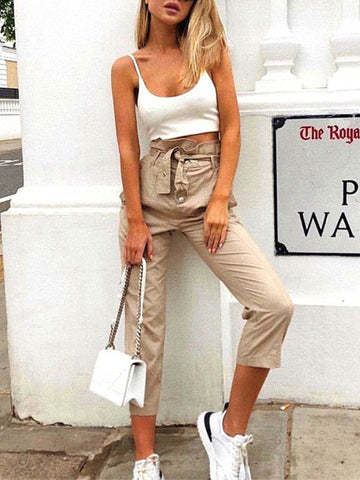 Apricot Patchwork Belt Studded High Waisted Fashion Pant