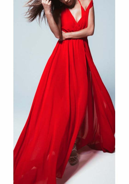 Red Sashes Slit Deep V-neck Bohemian Beach Maxi Dress