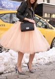 Pink Grenadine Fluffy Puffy Tulle Plus Size High Waisted Homecoming Party Tutu Midi Skirt