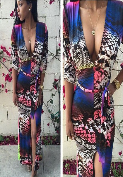 Multicolor Geometric Print Sashes Side Slit Club Maxi Dress