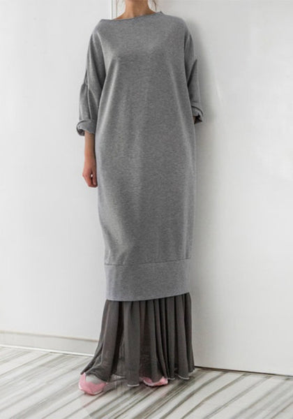 Grey Plain Patchwork Draped Long Sleeve Fashion Maxi Dress