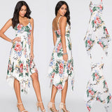 White Floral Print Backless Irregular Draped Spaghetti Strap Bohemian Midi Dress