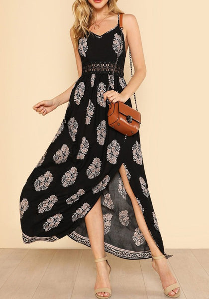 Black Floral Condole Belt Lace Cut Out Zipper Casual Maxi Dress