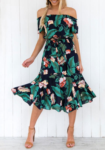 Green Floral Sashes Boat Neck Short Sleeve Fashion Midi Dress