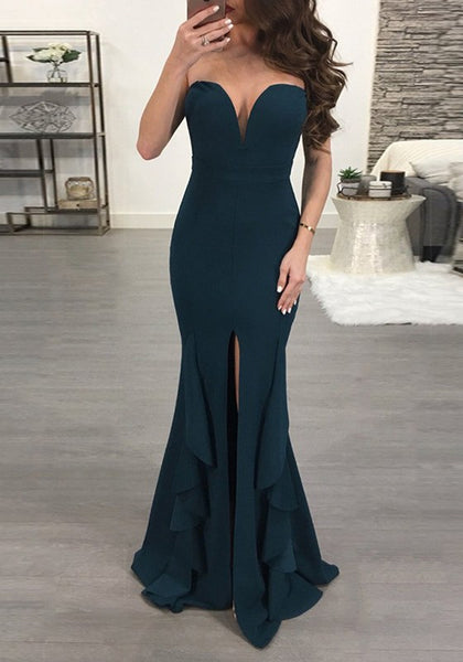 Dark Green Ruffle Slit Off Shoulder Backless Deep V-neck Banquet Party Maxi Dress